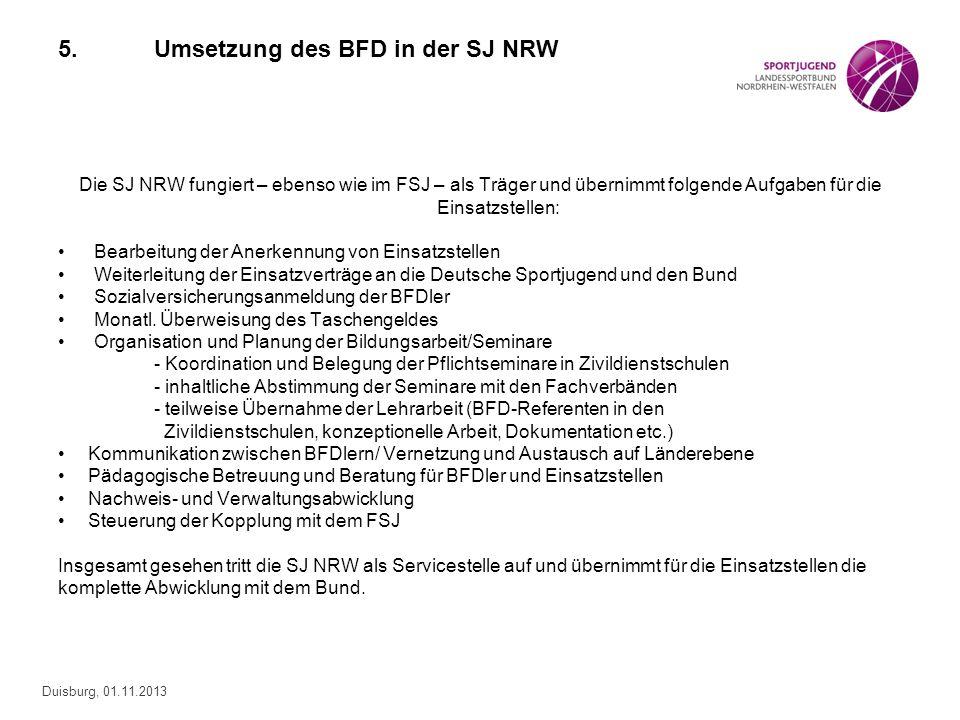5. Umsetzung des BFD in der SJ NRW