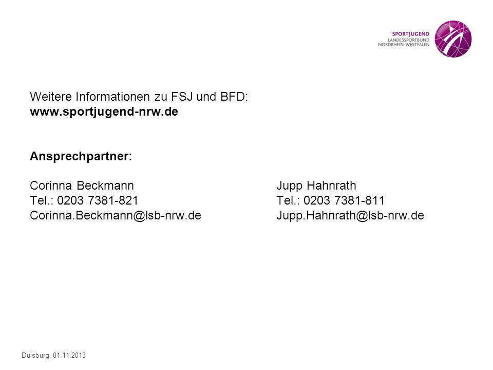 Weitere Informationen zu FSJ und BFD: www. sportjugend-nrw