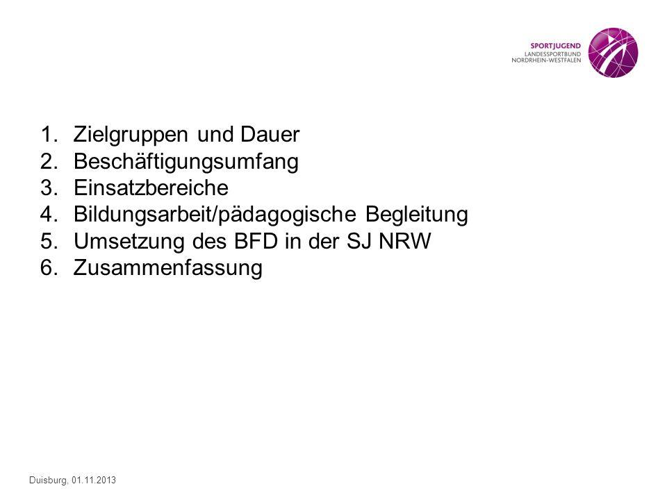 Zielgruppen und DauerBeschäftigungsumfang. Einsatzbereiche. Bildungsarbeit/pädagogische Begleitung.