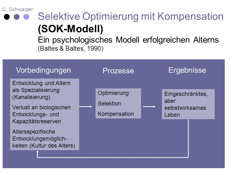 Selektive Optimierung mit Kompensation (SOK-Modell) Ein psychologisches Modell erfolgreichen Alterns (Baltes & Baltes, 1990)