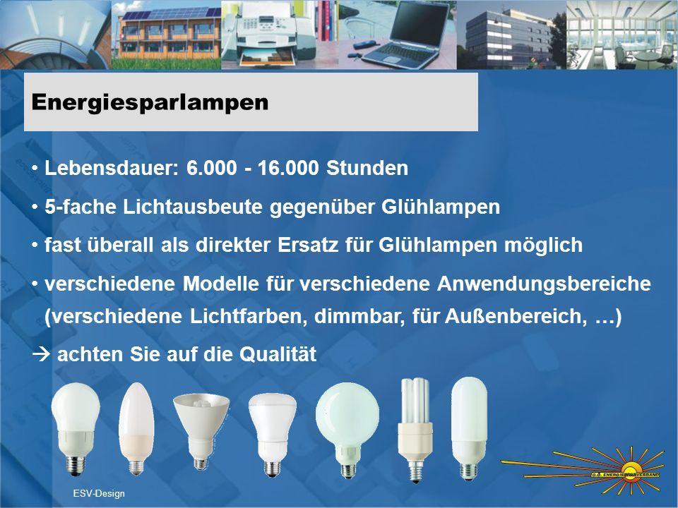 Energiesparlampen Lebensdauer: 6.000 - 16.000 Stunden