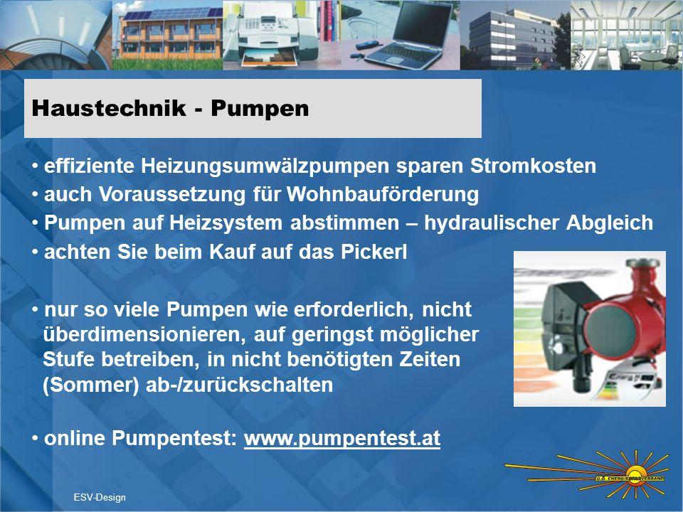 Haustechnik - Pumpeneffiziente Heizungsumwälzpumpen sparen Stromkosten. auch Voraussetzung für Wohnbauförderung.