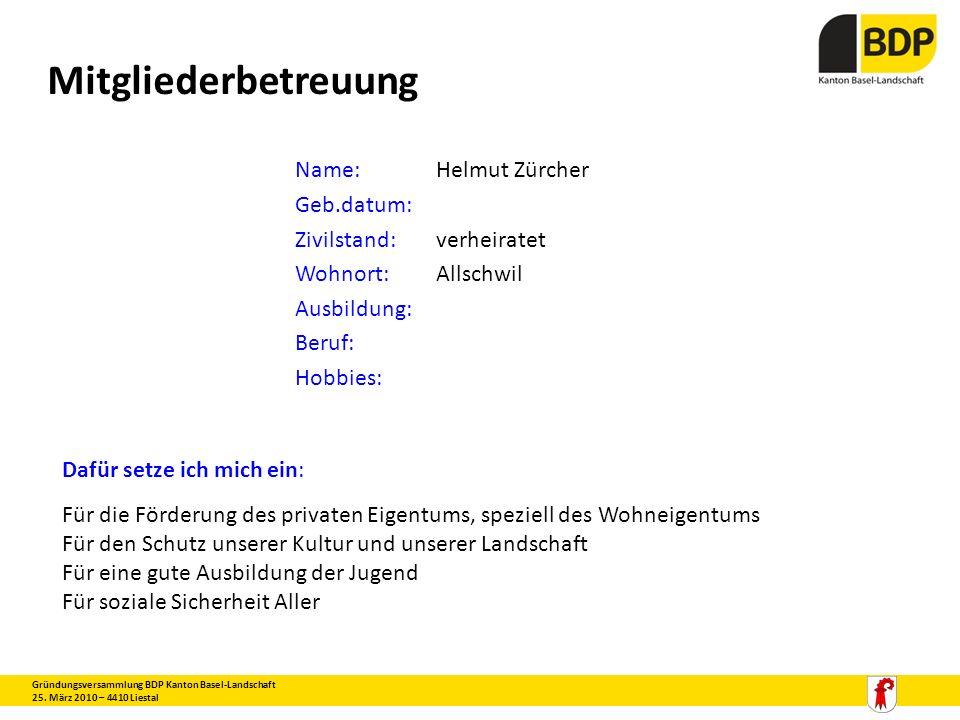 Mitgliederbetreuung Name: Helmut Zürcher Geb.datum: