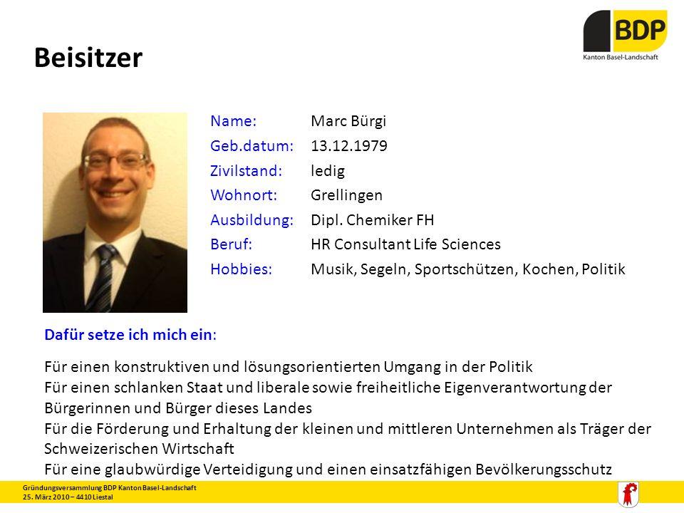 Beisitzer Name: Marc Bürgi Geb.datum: 13.12.1979 Zivilstand: ledig