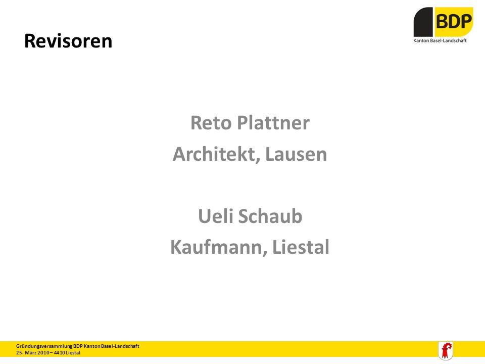 Reto Plattner Architekt, Lausen Ueli Schaub Kaufmann, Liestal