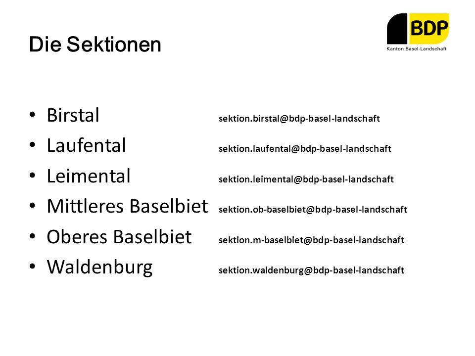 Die Sektionen Birstal sektion.birstal@bdp-basel-landschaft. Laufental sektion.laufental@bdp-basel-landschaft.