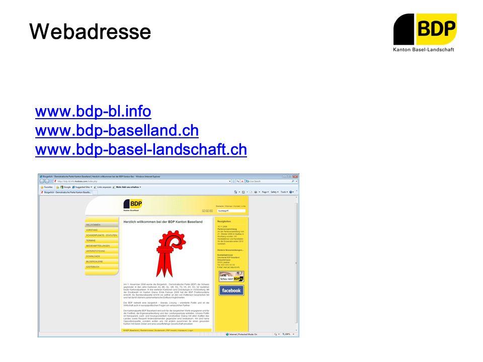 Webadresse www.bdp-bl.info www.bdp-baselland.ch