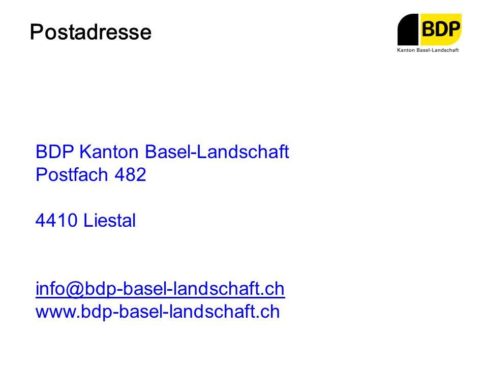 Postadresse BDP Kanton Basel-Landschaft Postfach 482