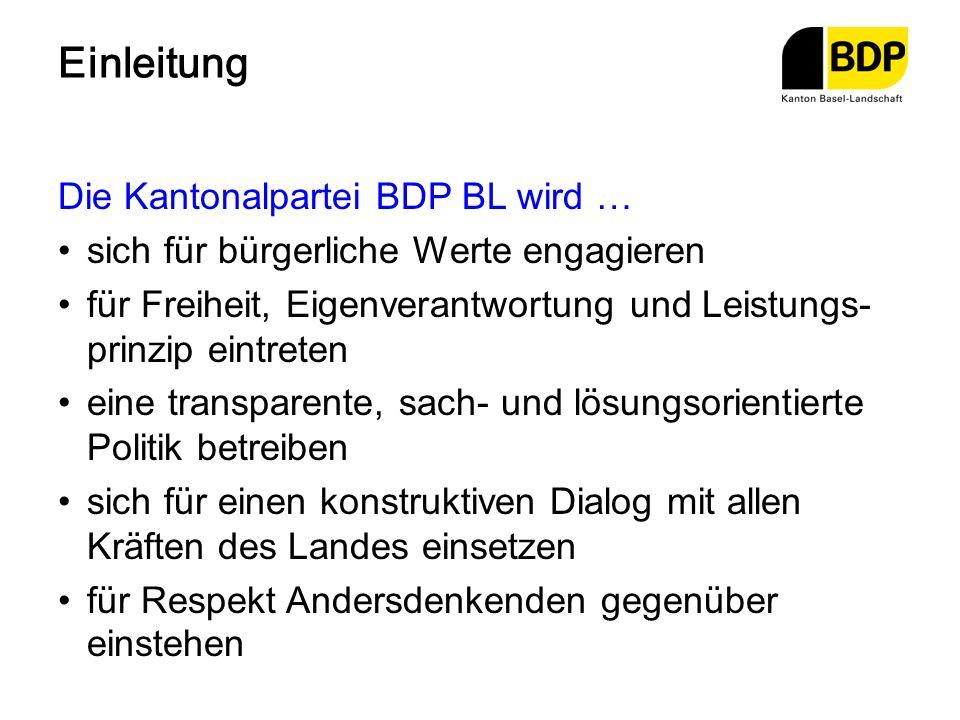 Einleitung Die Kantonalpartei BDP BL wird …