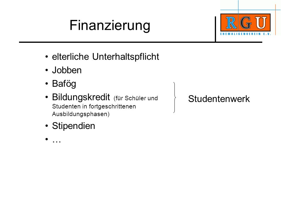 Finanzierung elterliche Unterhaltspflicht Jobben Bafög