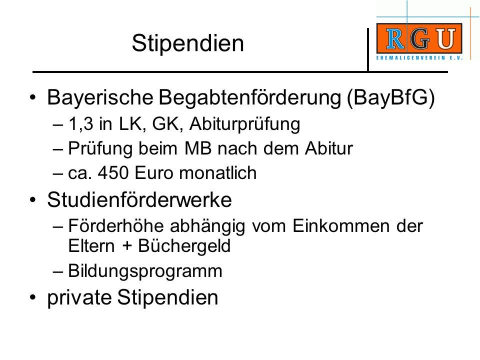 Stipendien Bayerische Begabtenförderung (BayBfG) Studienförderwerke