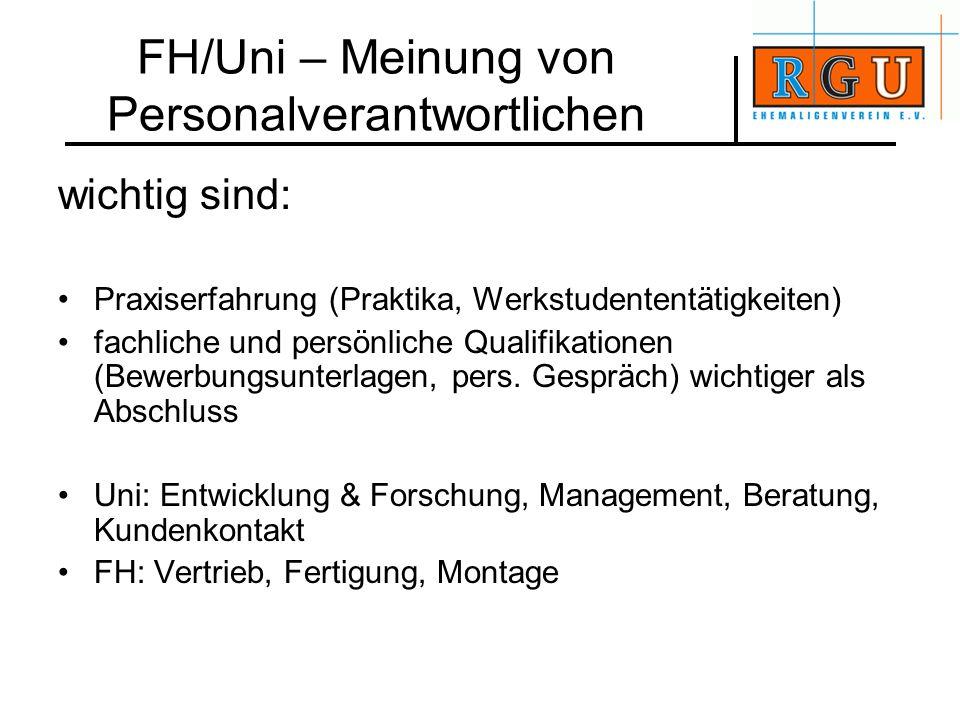 FH/Uni – Meinung von Personalverantwortlichen