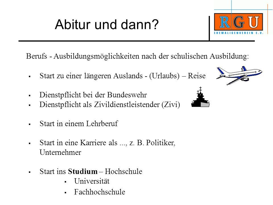 Berufs - Ausbildungsmöglichkeiten nach der schulischen Ausbildung: