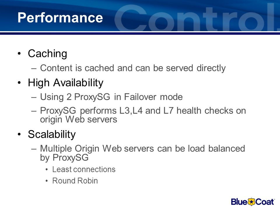 Performance Caching High Availability Scalability