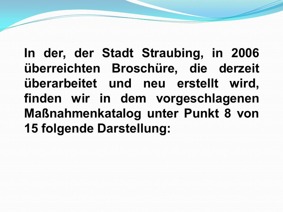 In der, der Stadt Straubing, in 2006 überreichten Broschüre, die derzeit überarbeitet und neu erstellt wird, finden wir in dem vorgeschlagenen Maßnahmenkatalog unter Punkt 8 von 15 folgende Darstellung: