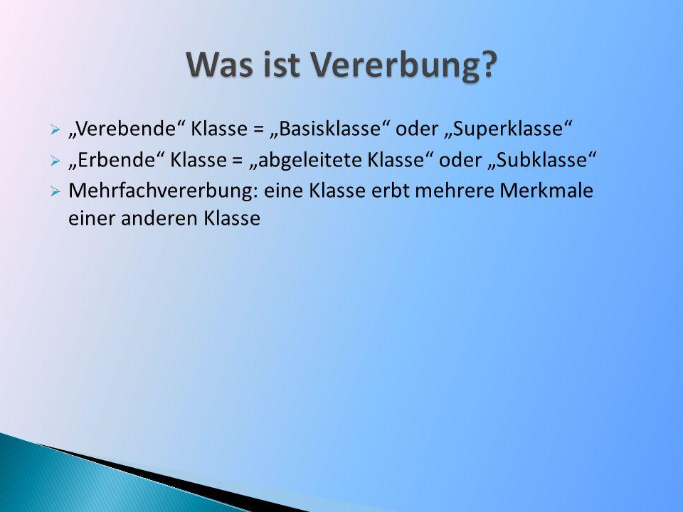 """Was ist Vererbung """"Verebende Klasse = """"Basisklasse oder """"Superklasse """"Erbende Klasse = """"abgeleitete Klasse oder """"Subklasse"""