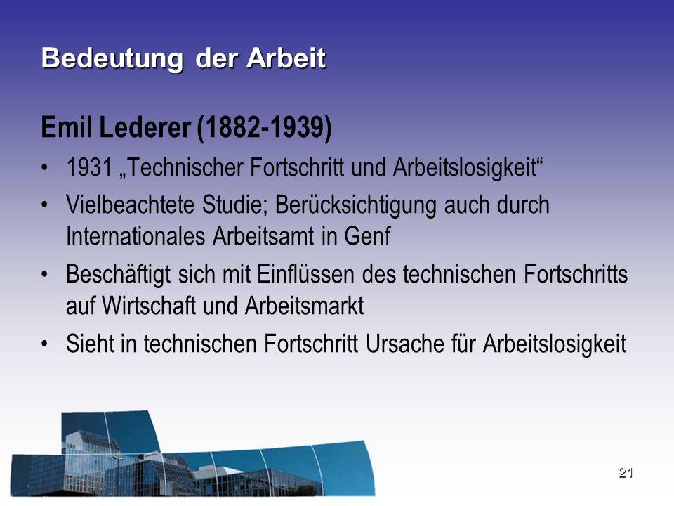 Emil Lederer (1882-1939) Bedeutung der Arbeit