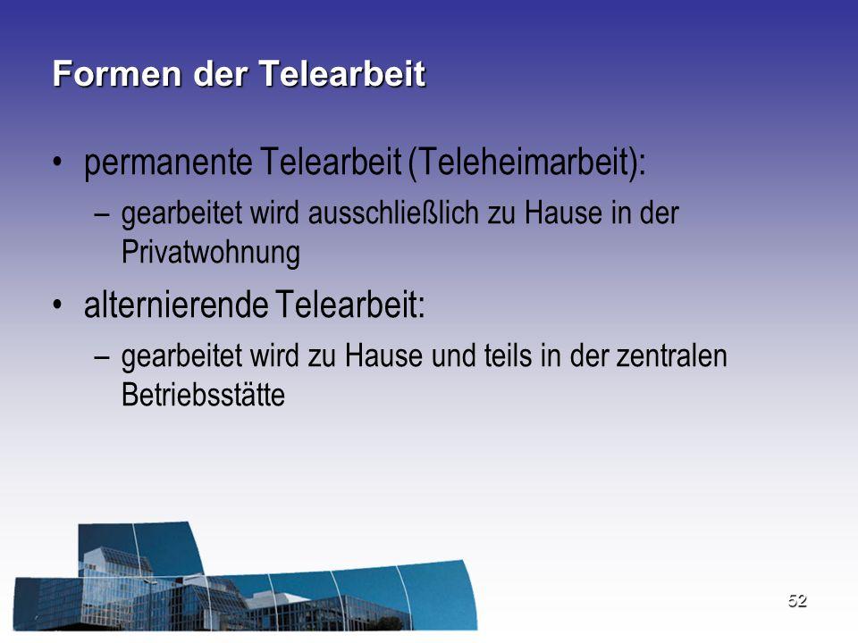permanente Telearbeit (Teleheimarbeit):