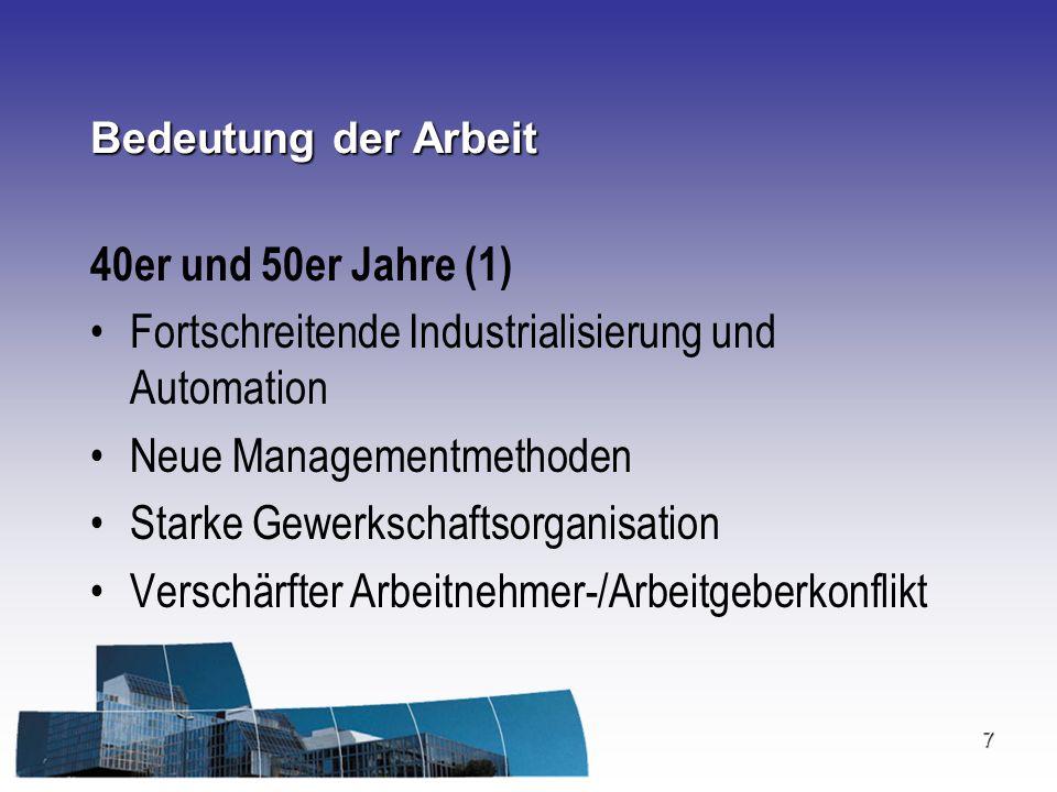 Fortschreitende Industrialisierung und Automation