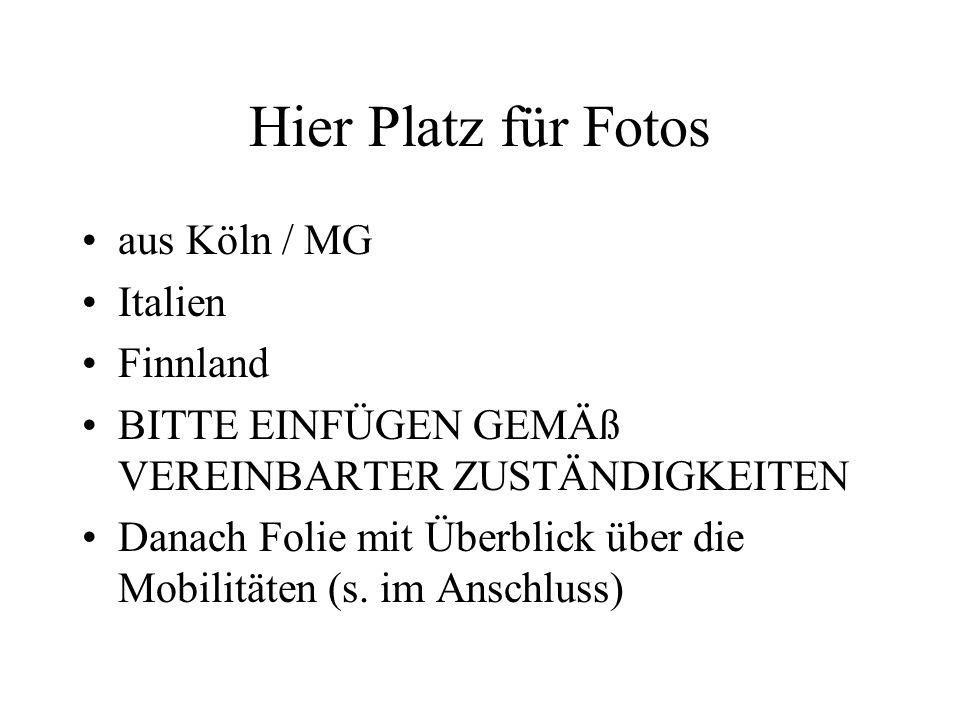 Hier Platz für Fotos aus Köln / MG Italien Finnland