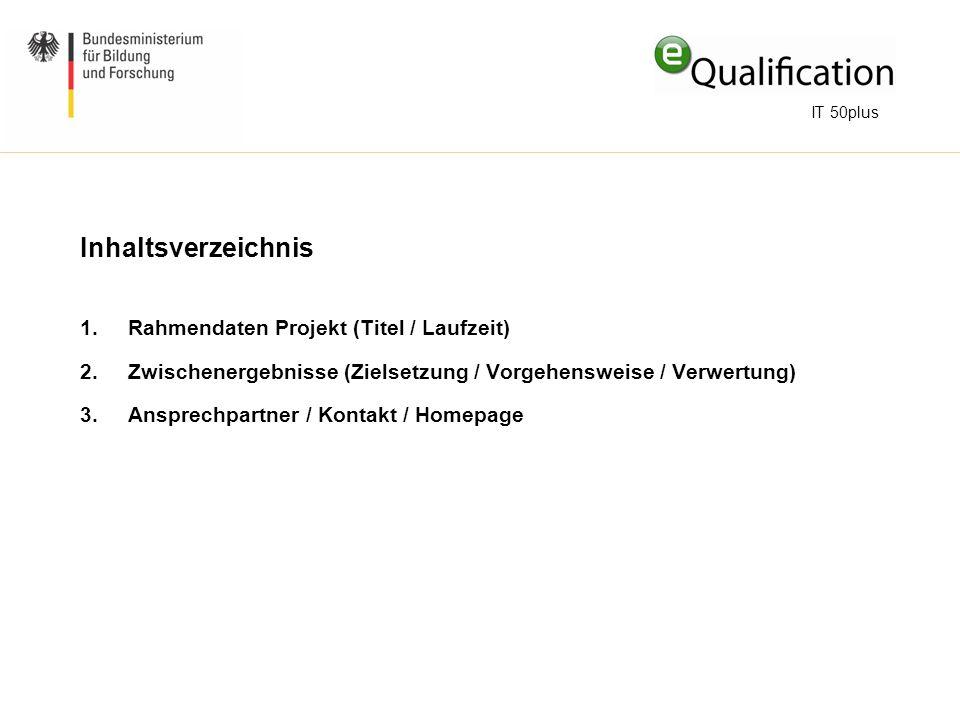 Inhaltsverzeichnis Rahmendaten Projekt (Titel / Laufzeit)