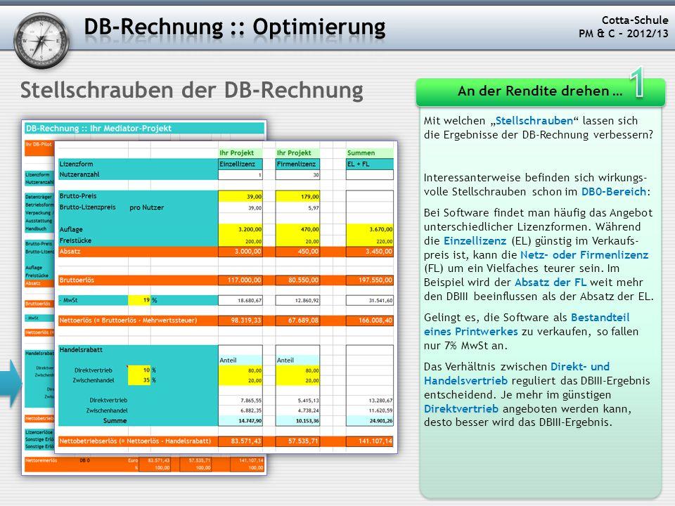 1 DB-Rechnung :: Optimierung Stellschrauben der DB-Rechnung
