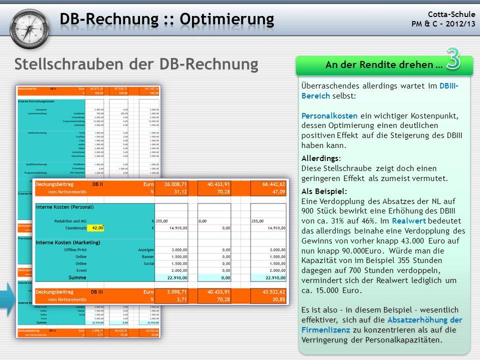 3 DB-Rechnung :: Optimierung Stellschrauben der DB-Rechnung