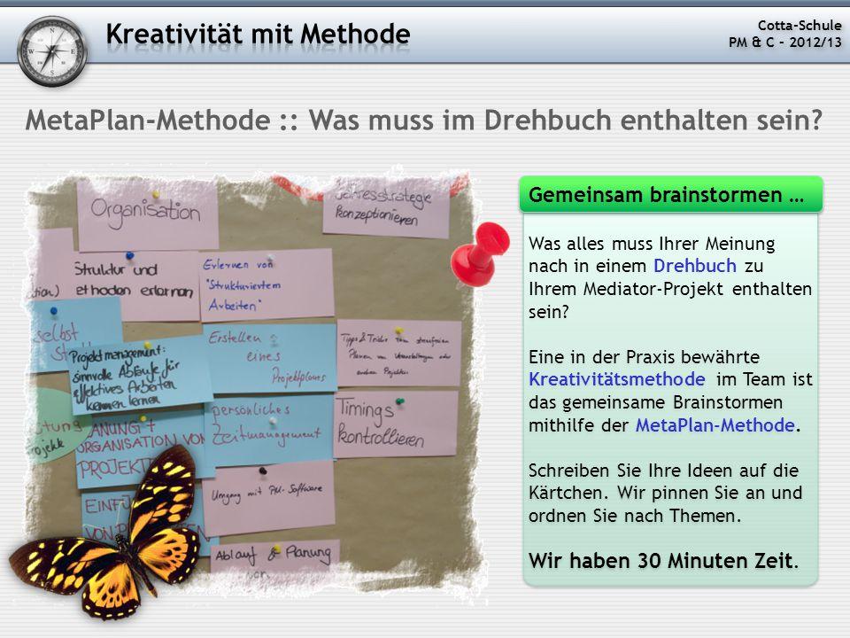 MetaPlan-Methode :: Was muss im Drehbuch enthalten sein