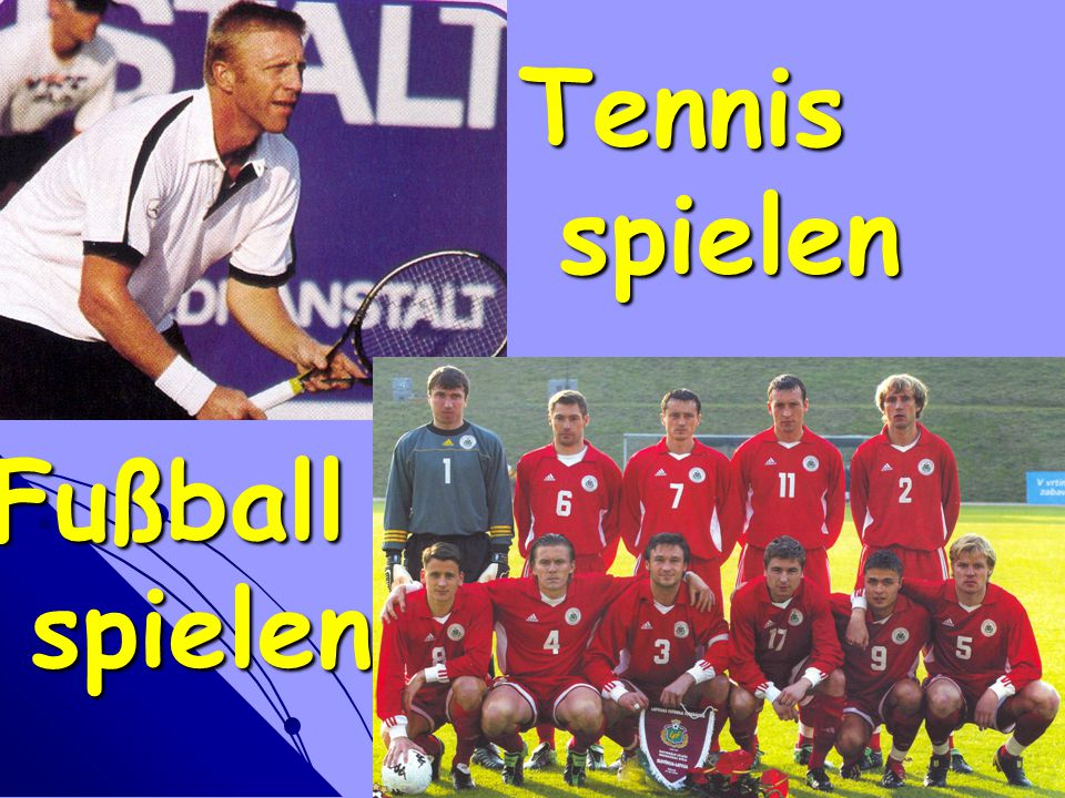 Tennis spielen Fußball spielen