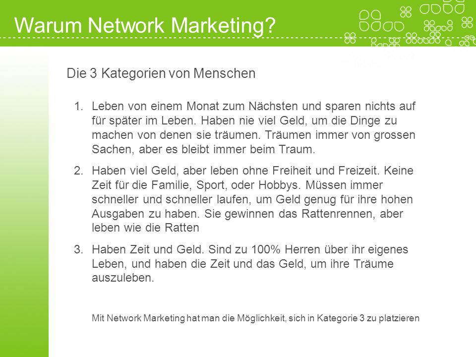 Warum Network Marketing
