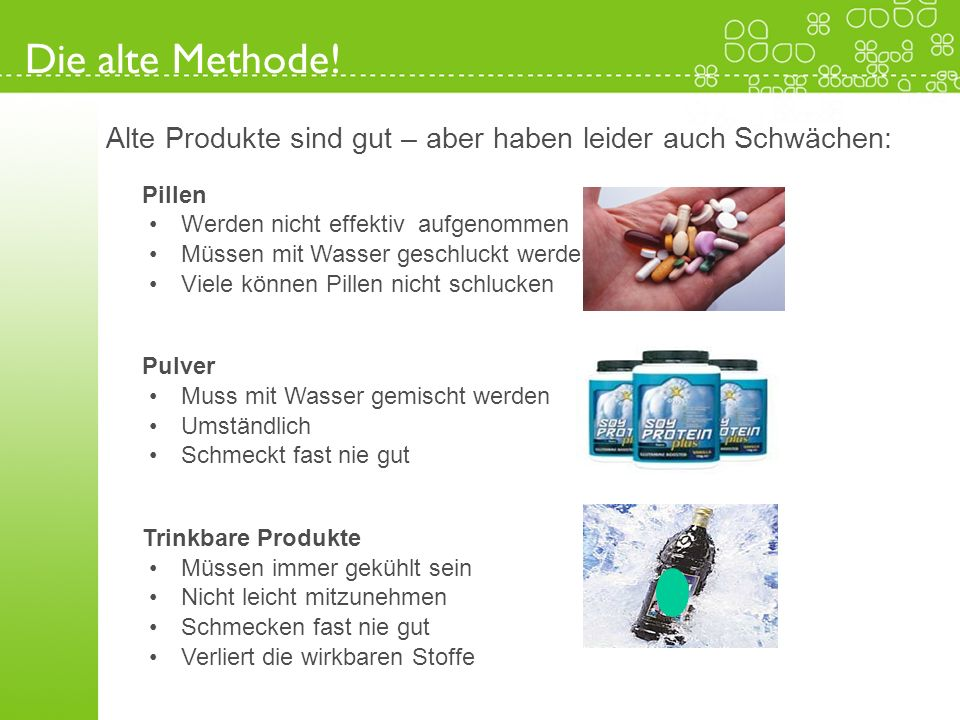 Die alte Methode!Alte Produkte sind gut – aber haben leider auch Schwächen: Pillen. Werden nicht effektiv aufgenommen.