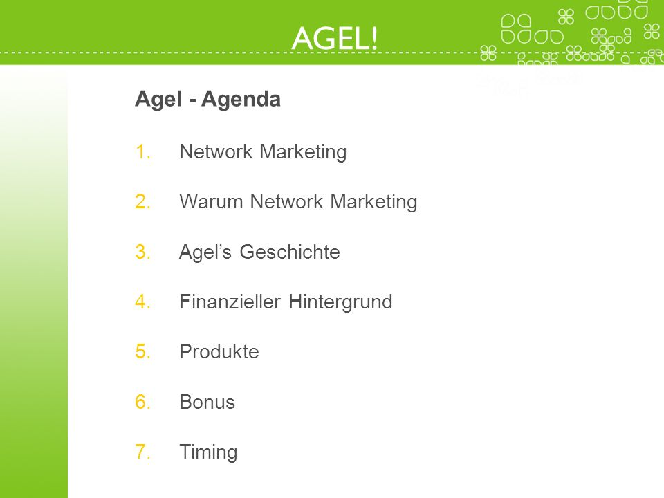 AGEL! Agel - Agenda Network Marketing Warum Network Marketing