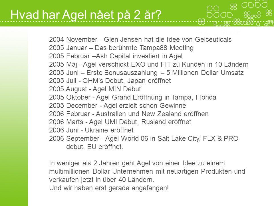 Hvad har Agel nået på 2 år 2004 November - Glen Jensen hat die Idee von Gelceuticals. 2005 Januar – Das berühmte Tampa88 Meeting.