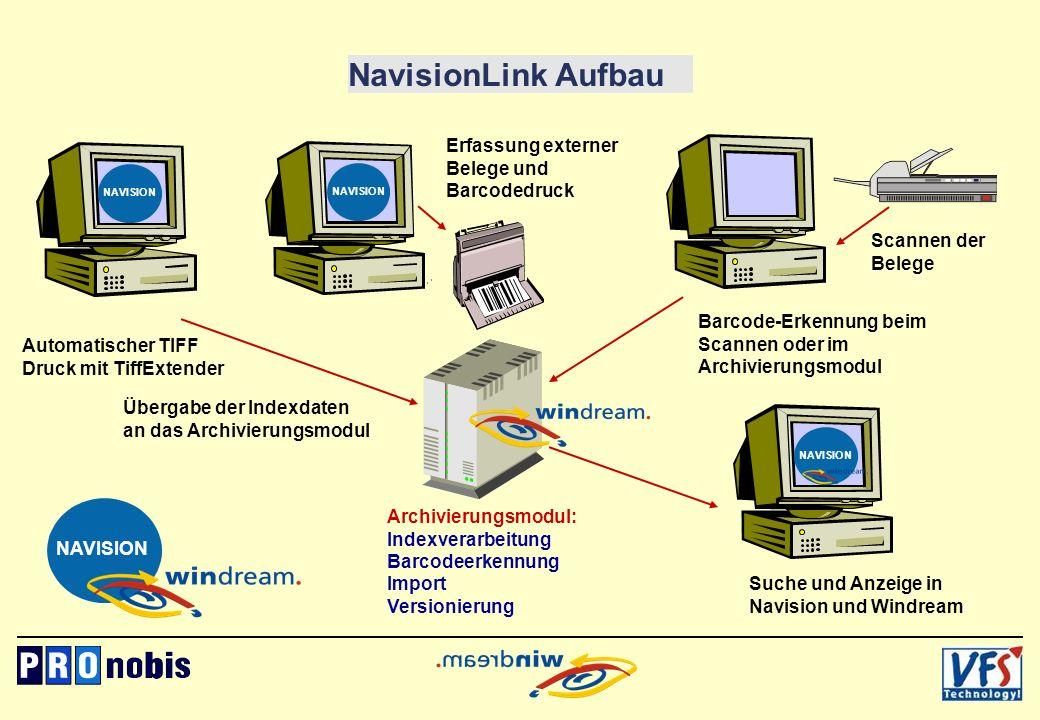 NavisionLink Aufbau Erfassung externer Belege und Barcodedruck