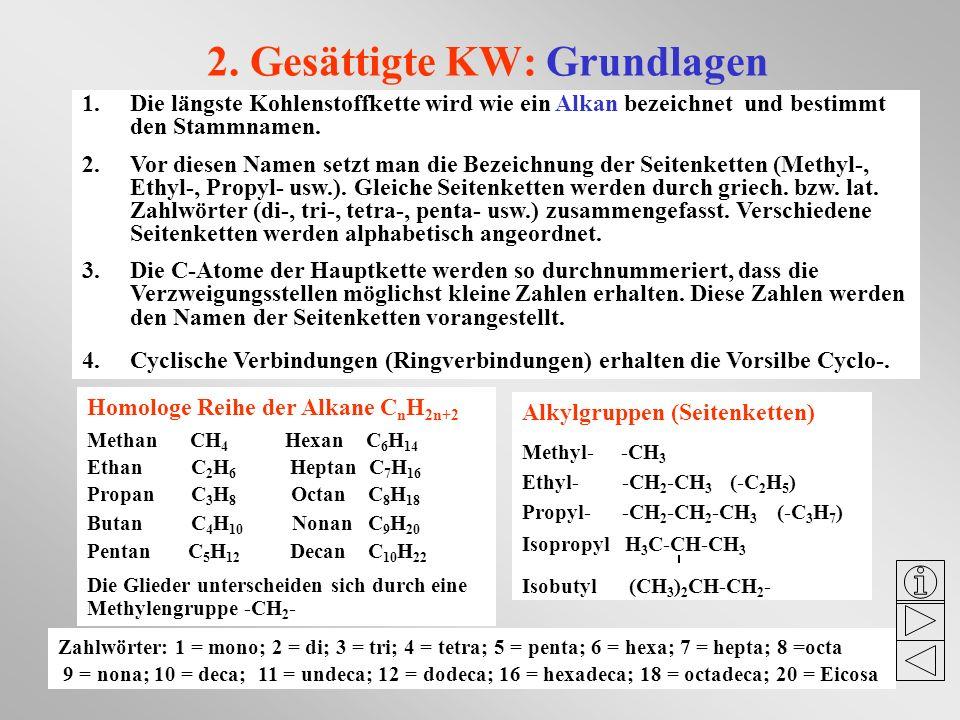 2. Gesättigte KW: Grundlagen