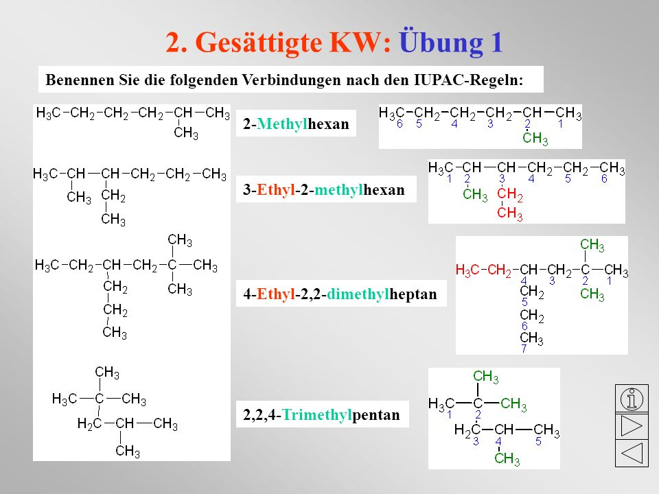 2. Gesättigte KW: Übung 1 Benennen Sie die folgenden Verbindungen nach den IUPAC-Regeln: 2-Methylhexan.