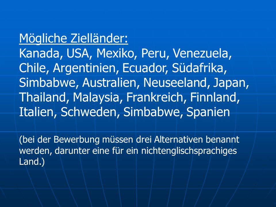Mögliche Zielländer: