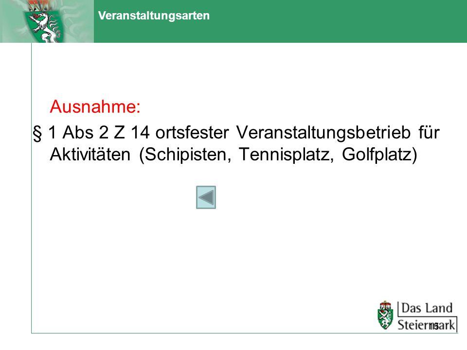 Veranstaltungsarten Ausnahme: § 1 Abs 2 Z 14 ortsfester Veranstaltungsbetrieb für Aktivitäten (Schipisten, Tennisplatz, Golfplatz)