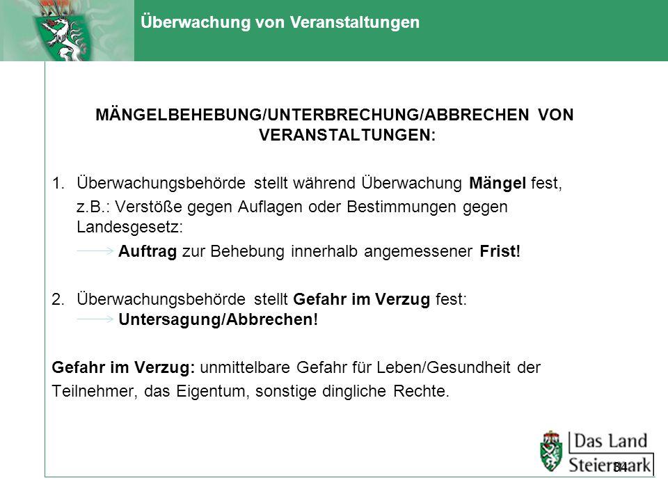 MÄNGELBEHEBUNG/UNTERBRECHUNG/ABBRECHEN VON VERANSTALTUNGEN: