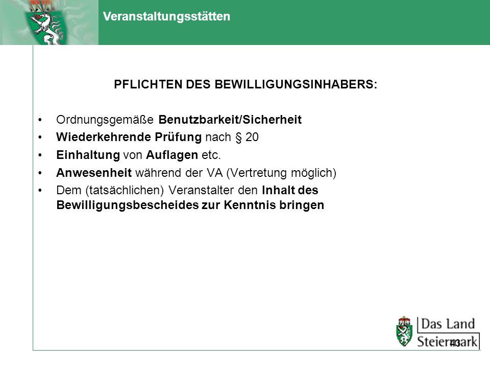 PFLICHTEN DES BEWILLIGUNGSINHABERS: