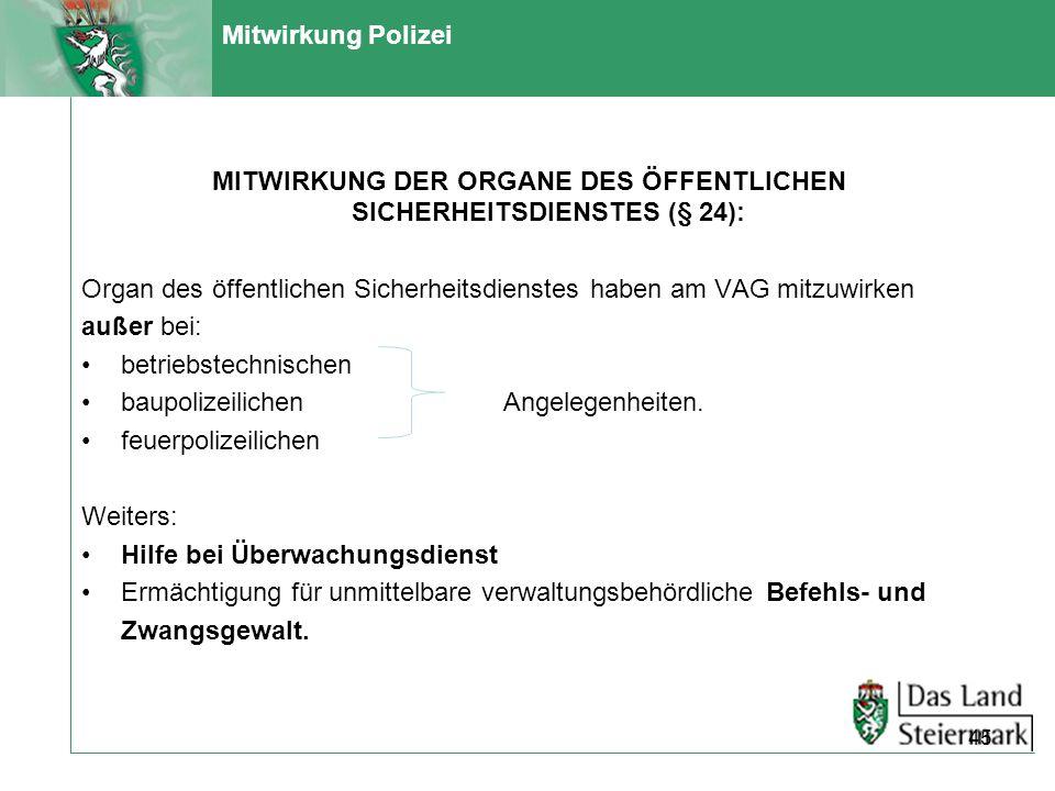 MITWIRKUNG DER ORGANE DES ÖFFENTLICHEN SICHERHEITSDIENSTES (§ 24):