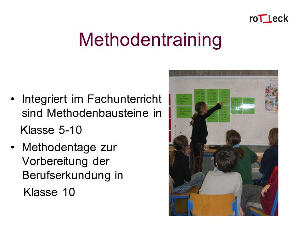 Methodentraining Integriert im Fachunterricht sind Methodenbausteine in. Klasse 5-10. Methodentage zur Vorbereitung der Berufserkundung in.