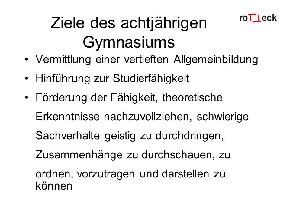 Ziele des achtjährigen Gymnasiums