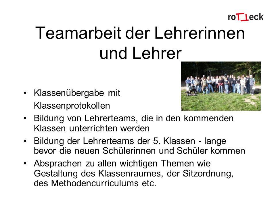 Teamarbeit der Lehrerinnen und Lehrer