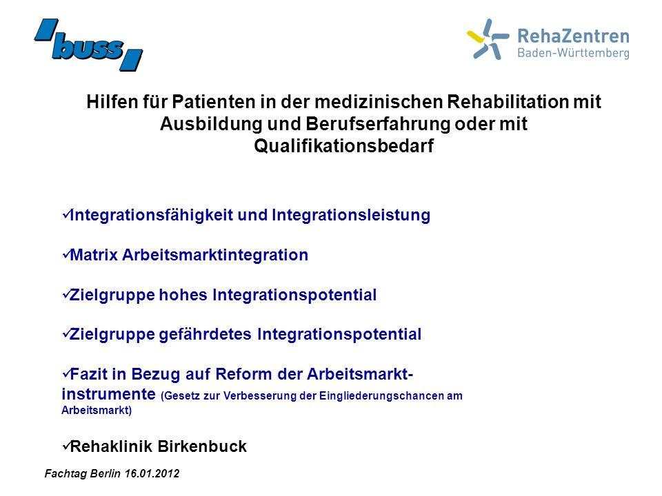 Hilfen für Patienten in der medizinischen Rehabilitation mit Ausbildung und Berufserfahrung oder mit Qualifikationsbedarf