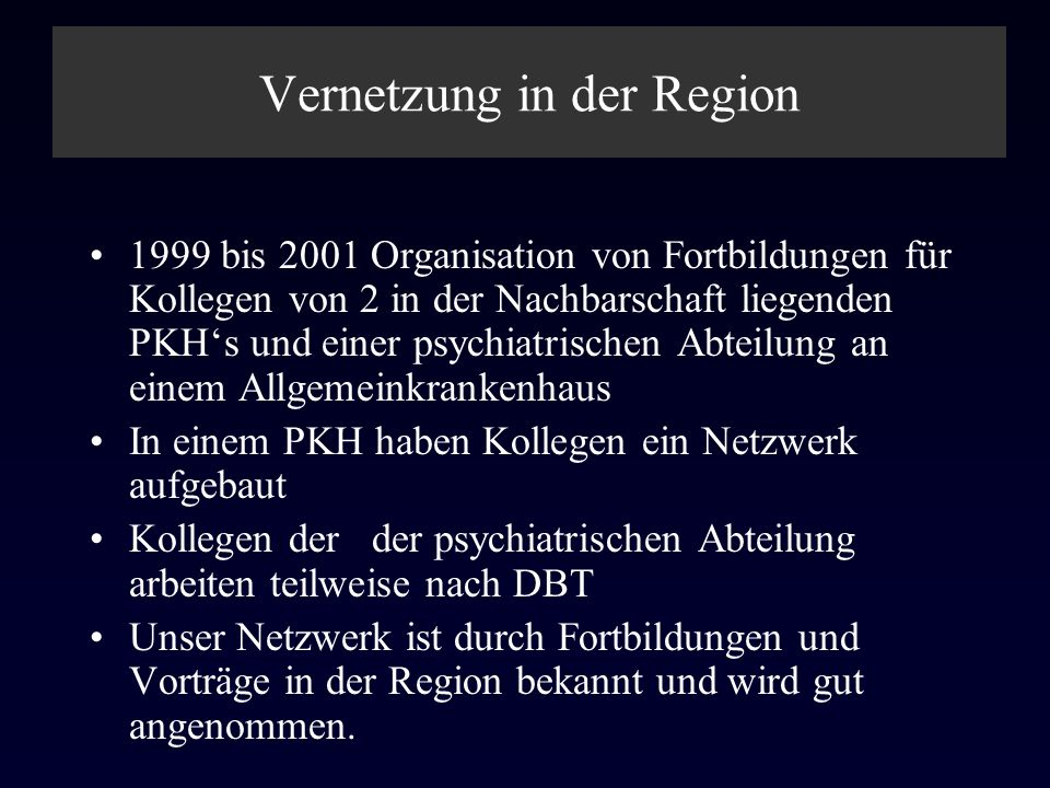 Vernetzung in der Region