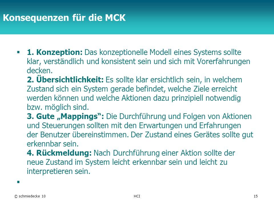 Konsequenzen für die MCK