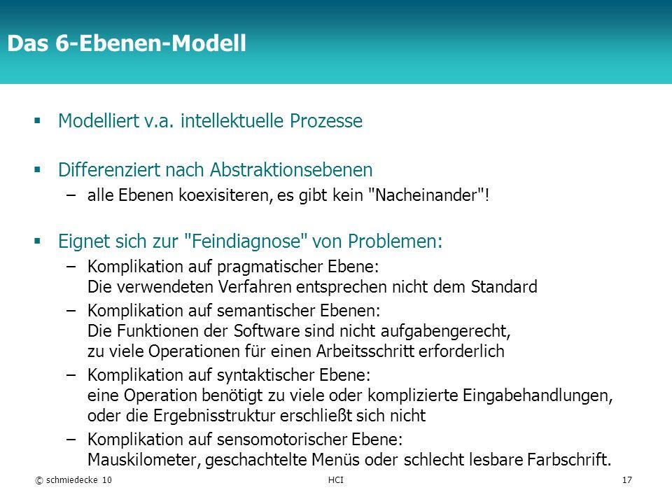 Das 6-Ebenen-Modell Modelliert v.a. intellektuelle Prozesse