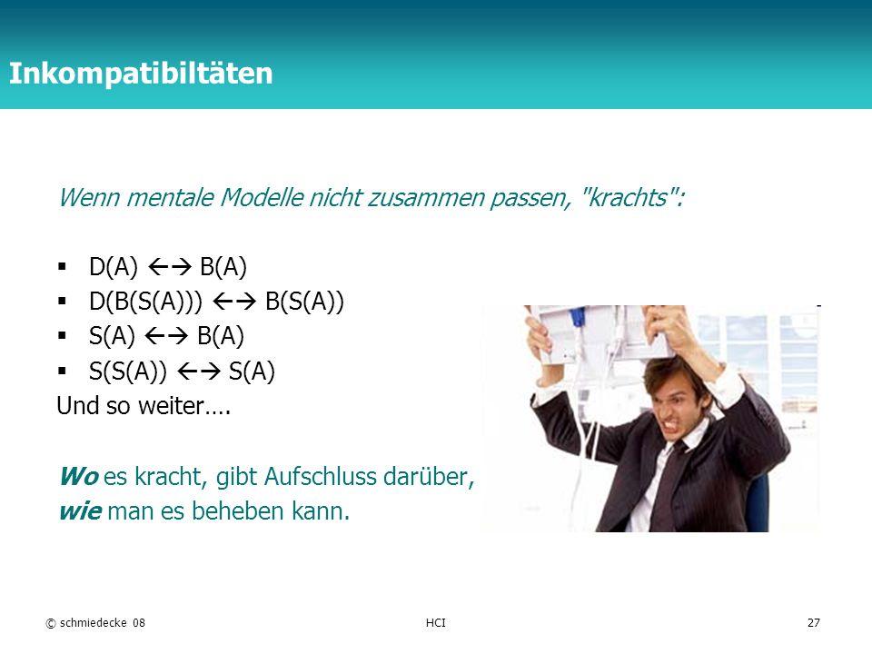 Inkompatibiltäten Wenn mentale Modelle nicht zusammen passen, krachts : D(A)  B(A) D(B(S(A)))  B(S(A))
