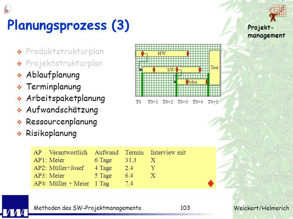 Planungsprozess (3) Produktstrukturplan Projektstrukturplan